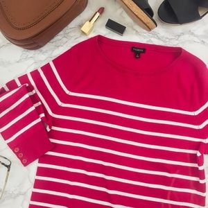Talbots Pink 3/4 Sleeve Sweater with White Stripes